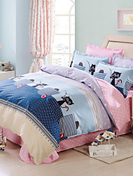 Black cats 100% Cotton Bedclothes 4pcs Bedding Set Queen Size Duvet Cover Set
