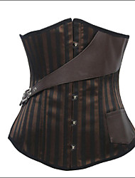 Shaperdiva Women's Underbust Steampunk Satin Corsets and Bustiers with Leather Belt