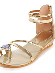 Women's Shoes Patent Leather Flat Heel Toe Ring Sandals Outdoor / Dress / Casual Silver / Gold