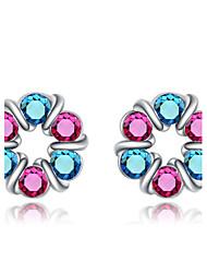 Women's Fashion Flower Color Diamond Stud Earrings