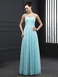 Formal Evening Dress - Sky Blue Sheath/Column Jewel Sweep/Brush Train Lace