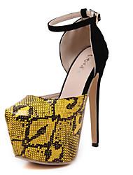 Women's Shoes Leather Stiletto Heel Heels / Platform Heels Wedding / Party & Evening / Dress Yellow