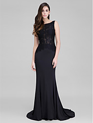 TS Couture® Formal Evening Dress Trumpet / Mermaid Bateau Court Train Lace / Jersey with Buttons / Lace