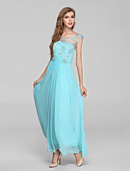 Formal Evening Dress Ball Gown Jewel Ankle-length Chiffon / Lace with Beading / Lace