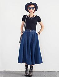 Women's Solid Blue Skirts,Vintage Midi