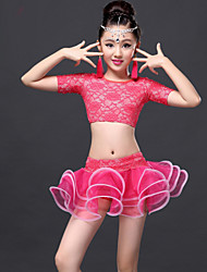 Latin Dance Outfits Children's Performance Lace Draped / Tassel(s) 2 Pieces Fuchsia / Royal Blue Latin Dance Skirt / Top