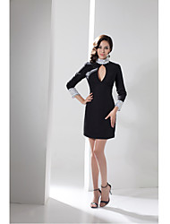 Cocktail Party Dress-Black Sheath/Column Jewel Short/Mini Taffeta