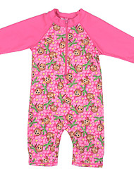 5~10 Years Kids Girls Summer Emoji/Monkey Pattern UV Protection Clothing One-Piece Swimwear with Half Sleeve Tankinis
