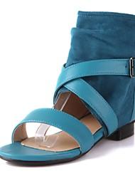 Zapatos de mujer-Tacón Bajo-Gladiador-Sandalias-Oficina y Trabajo / Vestido / Casual-Vellón / Semicuero-Negro / Azul / Rojo