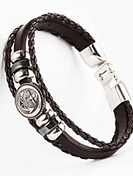 Three Layer Buckle Anchor Button Shape PU Leather Men's Bracelet
