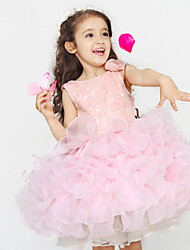 Sweet Pink Chiffon Tiered Ball Gown Knee-length Flower Girl Dresses