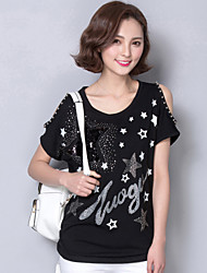 Women's Print White / Black / Green T-shirt,Round Neck Short Sleeve Beading Plus Size