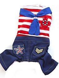 Chat Chien Combinaison-pantalon Rouge Bleu Vêtements pour Chien Hiver Printemps/Automne Rayure Mode cow-boy
