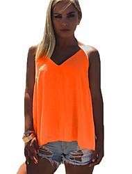 Débardeur Aux femmes,Couleur Pleine Plage Bohème Eté Sans Manches Col en V Orange Polyester Fin