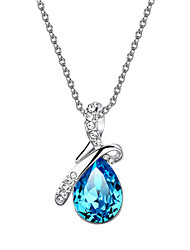 HKTC Valentine's Glittering Blue Austrian Crystal Angel's Teardrop CZ Diamond Pendant Necklace Platinum Plated Jewelry