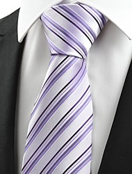 Black Striped Violet JACQUARD Men's Tie Necktie Wedding Party Holiday Gift #0008
