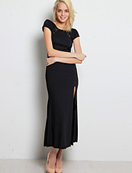 Women's Elegant Round Collar Lace Cut Out Furcal Maxi Plus Size Dress