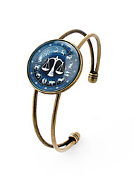 Lureme® Time Gem The Zodiac Series Libra Disc Cuff Bangle Bracelet for Women and Girl