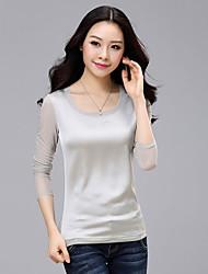 Spring New Women's Network Yarn Stitching Slim T-Shirt
