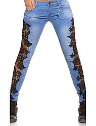 Damen Hose - Übergröße / Sexy Enger Schnitt / Jeans Baumwolle / Polyester Mikro-elastisch