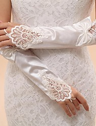 Elbow Length Fingerless Glove Lace Elastic Satin Bridal Gloves Party/ Evening Gloves Spring Summer Fall Winter Bow lace