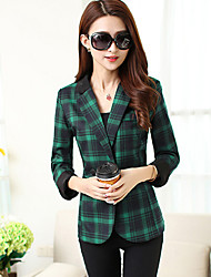 Women's Work Plus Size / Street chic Spring Blazer,Plaid Peaked Lapel Long Sleeve Red / Green Polyester Medium