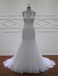 Fit & Flare Wedding Dress Court Train Scoop Lace / Tulle with Appliques / Beading / Sequin