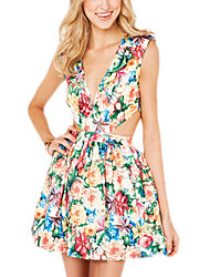 Women's Casual/Daily Sexy Loose / Sheath Dress,Floral Deep V Mini Sleeveless Green Polyester Spring