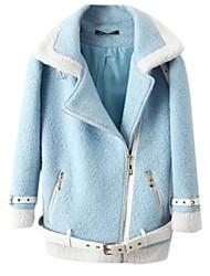 Manteau Aux femmes Manches Longues Simple / Street Chic Polyester