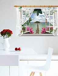 The Window Screen Wall Stickers Fake Scenery Wall Stickers Landscape / 3D Wall Stickers PVC 90*60cm