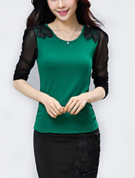 Women's Patchwork Red / Black / Green Blouse,Plus Size/ Casual Lace Embroidery Fashion Elegant Slim Nylon