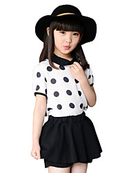 Girl's Casual/Daily Clothing Set,Polyester Summer Black