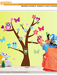 MJ8002 Cute Wise Owls Tree Wall Stickers for Kids  Nursery Cartoon Children Decals Animals Mural Arts Flowers