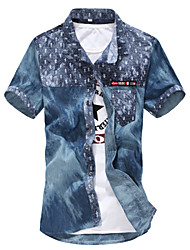 M- 3XL Plus Size High Quality Men's Floral Short Sleeve Denim shirts Top,Cotton / Polyester Casual / Sport