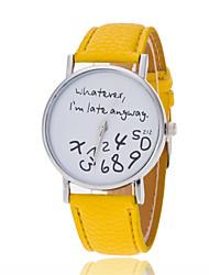 Жен. Модные часы Кварцевый PU Группа Блестящие Часы с текстом Черный Белый Синий Красный Зеленый Желтый