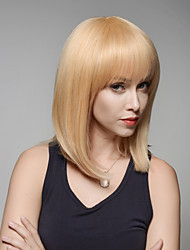 Graceful Medium Length Straight Remy Human Hair Hand Tied -Top Woman's Emmor Wigs