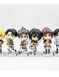 Attack on Titan PVC One Size Anime Action Figures Model Toys Doll Toy 6pcs 8cm
