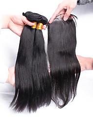 5A Brazilian Virgin Hair Closure With Bundles 3PCS Brazilian Straight Hair Bundles With Free Part Lace Closure