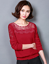 Women's Casual/Daily Cute Spring Blouse,Solid Round Neck Long Sleeve Red / Black Polyester Medium