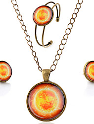 Lureme® Time Gem Series Simple Vintage Style Bright Sun Pendant Necklace Stud Earrings Bangle Jewelry Sets