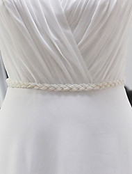 Satin Wedding / Party/ Evening / Dailywear Sash-Beading / Pearls Flower Girl's 98 ½in(250cm) Beading / Pearls