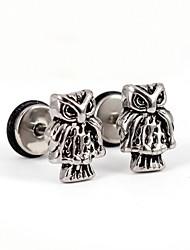 Retro Owl Stainless Steel Screwback Earrings