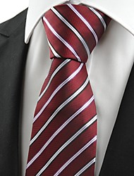 Luxury Striped Dark Red Men's Tie Necktie Wedding Occasion Holiday Gift #0014