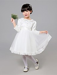 A-line Knee-length Flower Girl Dress-Satin / Tulle Long Sleeve