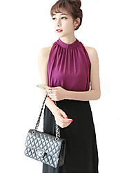 Women's Going out Sexy Summer Blouse,Solid Stand Sleeveless Black / Gray / Purple Polyester Thin