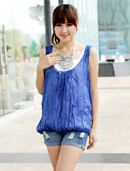 Women's Casual/Daily Sexy / Cute Summer Blouse,Solid Deep U Sleeveless Blue Acrylic / Polyester Thin