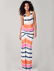 Women's Beach Sexy / Simple Bodycon Dress,Striped Round Neck Maxi Sleeveless Multi-color Polyester / Spandex Summer