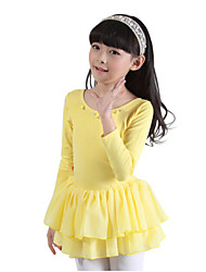 3~8 Y Kids Girls Pink/Yellow Solid Ballet Performance Dress(Cotton) with Ruffle Skirt in Long Sleeve/Skate Dancewear