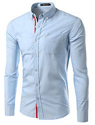 High Quality Men's Long Sleeve Slim Formal Business Dress Shirt,Cotton / Polyester Casual / Work Solid Hot Sale