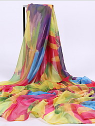 Summer Silk Spring And Winter Long Section Of Rainbow-colored Scarf Printed Beach Towel  Scarf